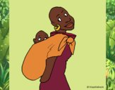 African woman with baby sling