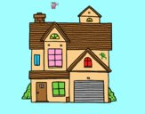 Coloring page American family house painted bylorna