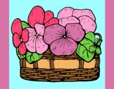 Coloring page Basket of flowers 12 painted bylorna