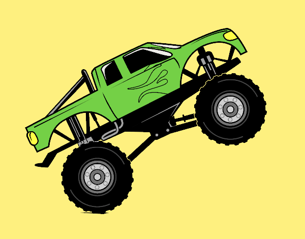 Coloring page Bigfoot car painted bylorna