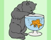 Coloring page Cat watching fish painted bylorna