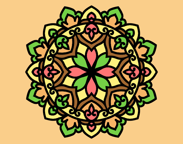 Coloring page Celtic mandala painted bylorna