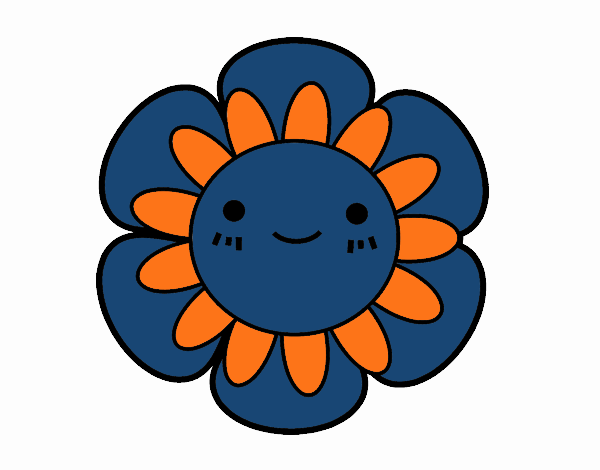 Coloring page Childish flower painted byNerak