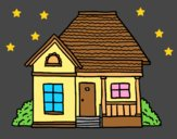 Coloring page Cottage of the village painted bylorna