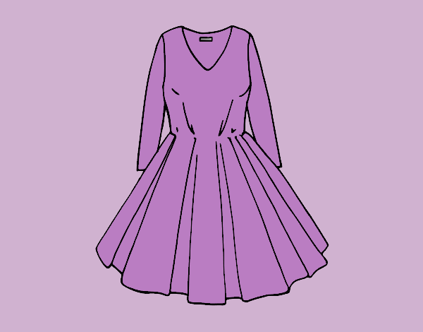 Coloring page Dress with full skirt painted bylorna