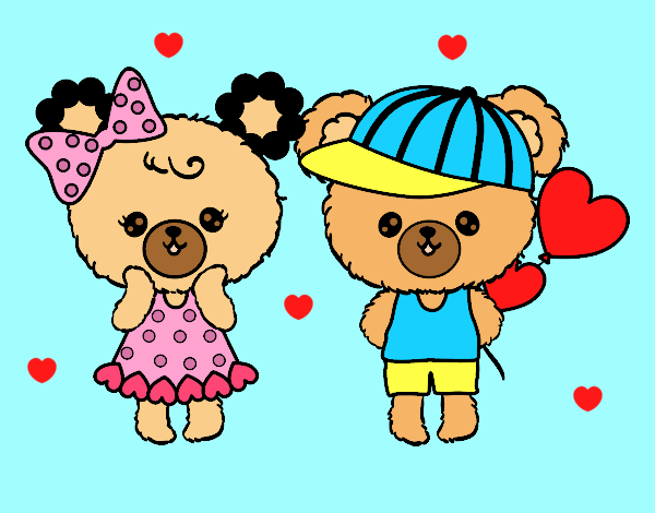 Coloring page Kawaii bears in love painted bylorna