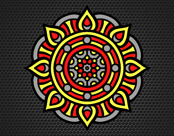 Coloring page Mandala fire points painted bylorna