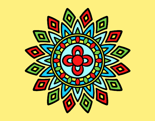 Coloring page Mandala flashes painted bylorna