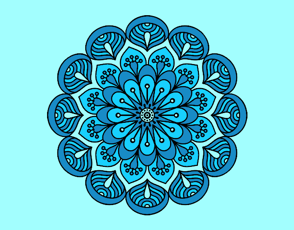 Coloring page Mandala flower and sheets painted bylorna
