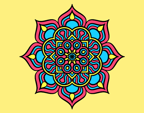 Coloring page Mandala flower of fire painted bylorna