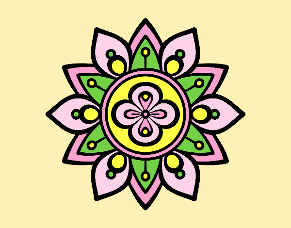 Coloring page Mandala lotus flower painted bylorna