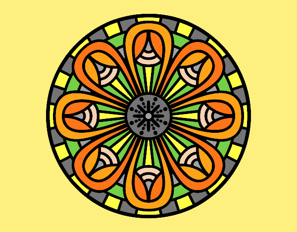 Coloring page Mandala pencils painted bylorna