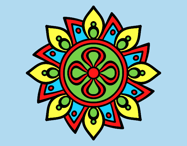 Coloring page Mandala simple flower painted bylorna
