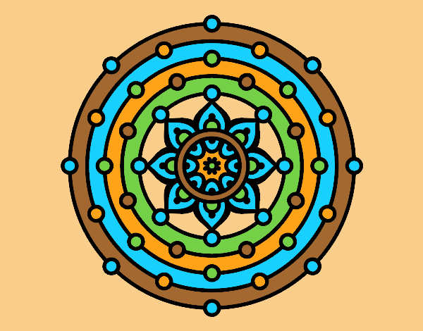 Coloring page Mandala solar system painted bylorna