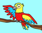 Coloring page Parrot in freedom painted bylorna