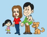 Coloring page A united family painted bylorna