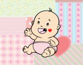 Coloring page Baby smiling painted bylorna