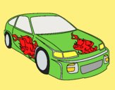 Coloring page Car with flames painted bylorna