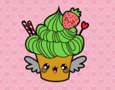 Cupcake kawaii with strawberry