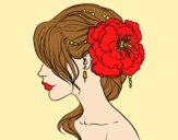Coloring page Flower wedding hairstyle painted bylorna