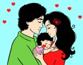 Coloring page Hug family painted bylorna