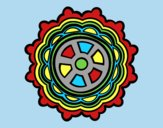 Coloring page Mandala shaped rudder painted bylorna