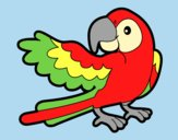Coloring page Parrot with wideout painted bylorna