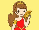 Coloring page Princess and Hand fan painted bylorna