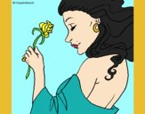 Coloring page Princess with a rose painted bylorna