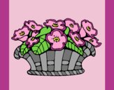 Coloring page Basket of flowers 10 painted bylorna
