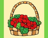 Coloring page Basket of flowers 6 painted bylorna