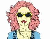 Coloring page Girl with sunglasses painted bydiamon