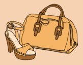 Coloring page Handbag and shoe painted bylorna