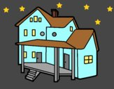 Coloring page House with porch painted bylorna