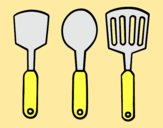 Coloring page spatulas painted bylorna