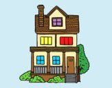 Coloring page Two-story house with attic painted bylorna