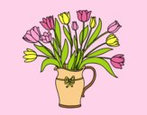 Coloring page Vase of tulips painted bylorna