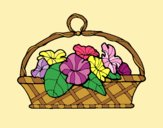 Coloring page Basket of flowers 5 painted bylorna