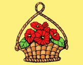 Coloring page Basket of flowers painted bylorna