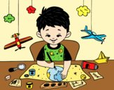 Coloring page Child creativity painted bylorna