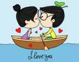 Coloring page Kiss on a boat painted bylorna