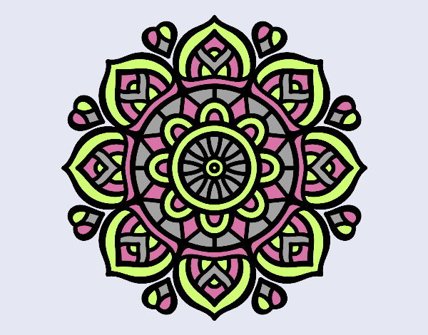 Coloring page Mandala for mental concentration painted byrobo