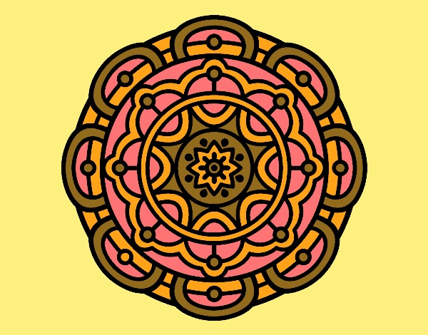 Coloring page Mandala for mental relaxation painted byrobo
