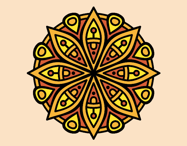 Coloring page Mandala for the concentration painted byrobo