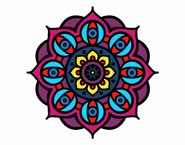 Coloring page Mandala open eyes painted byRjsWifey