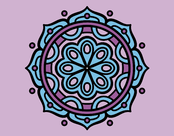 Coloring page Mandala to meditate painted byrobo