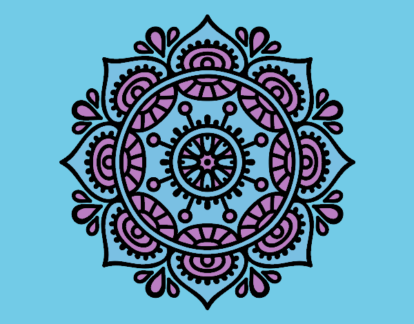 Coloring page Mandala to relax painted byrobo