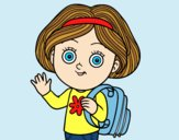 Coloring page School girl painted bylorna