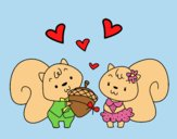 Coloring page Squirrels in love painted bylorna