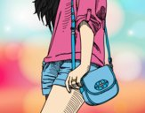 Coloring page Girl with handbag painted bylorna